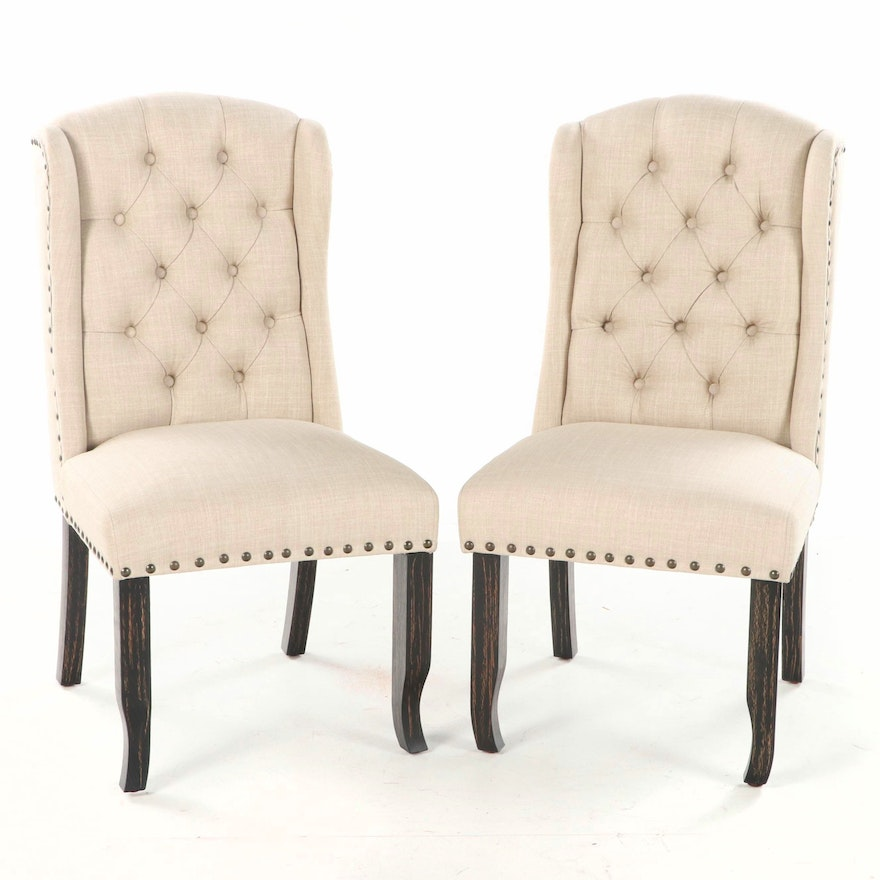 Pair of Furniture of America California Button-Down and Demi-Wing Side Chairs