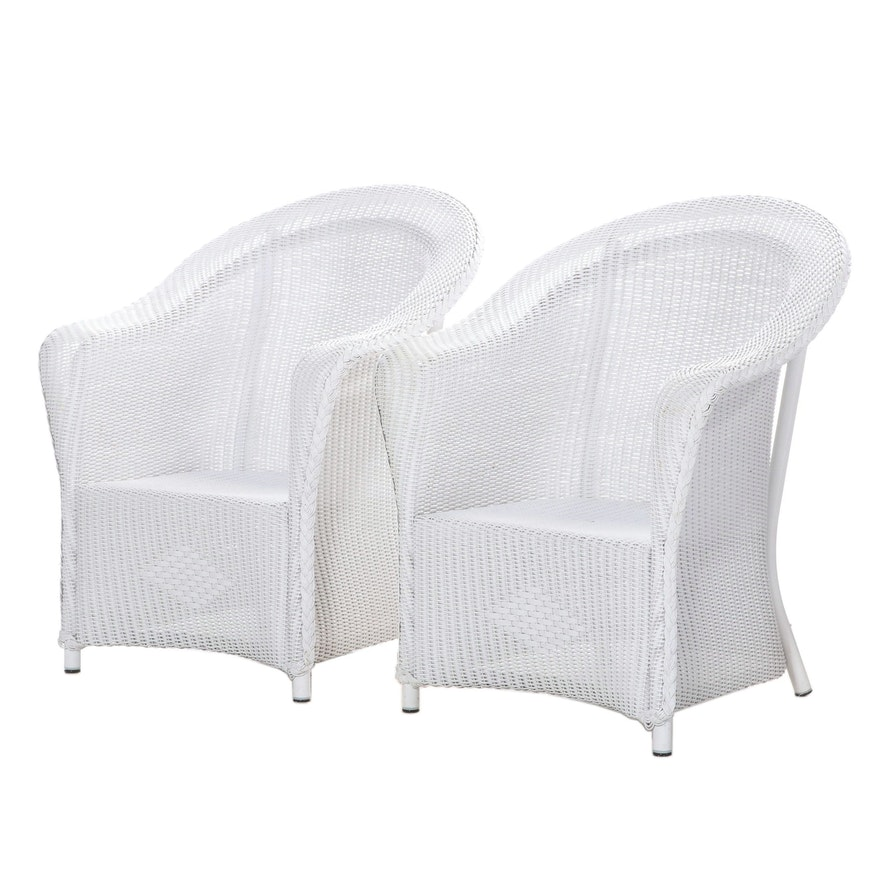 Pair of White Wicker Armchairs