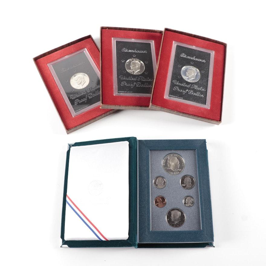 Eisenhower Proof Silver Dollars and Prestige Coin Set