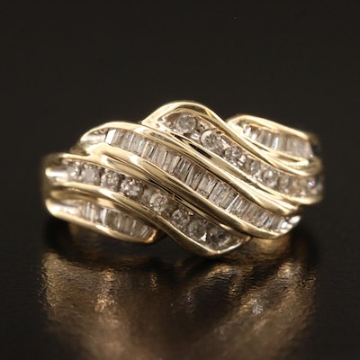 10K Diamond Wave Ring