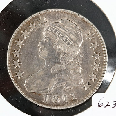 1811 Capped Bust Silver Half Dollar, Lettered Edge