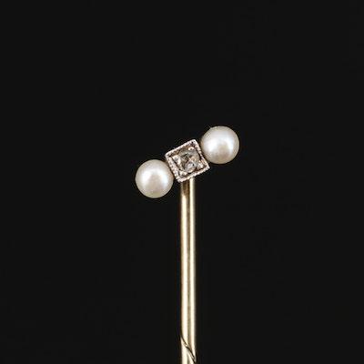 Early Art Deco 14K Diamond and Seed Pearl Stick Pin
