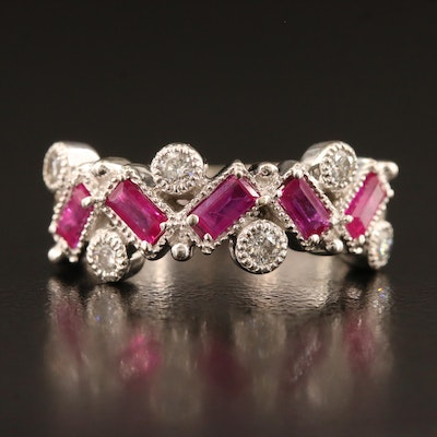 14K Diamond and Ruby Ring with Milgrain Detail