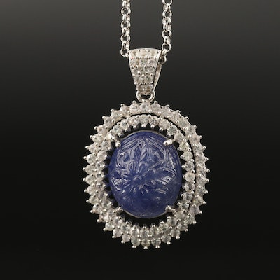 Sterling Floral Carved Tanzanite and Sapphire Halo Ring