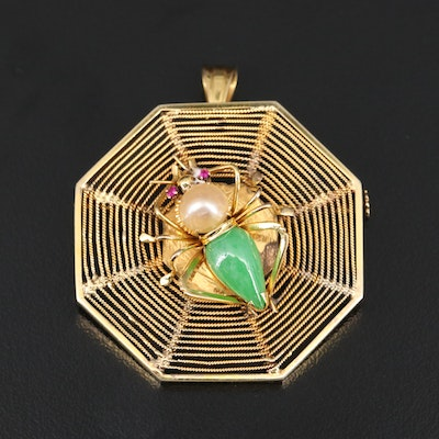 Vintage 14K Pearl, Jadeite and Ruby Spider Converter Brooch
