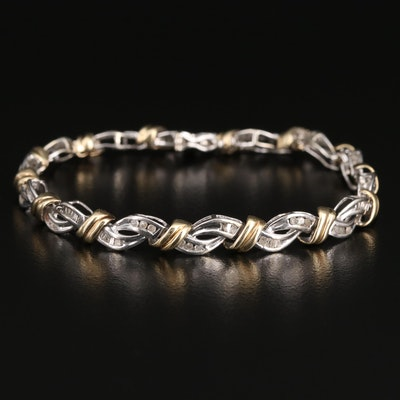 10K Two-Tone Diamond Woven Bracelet