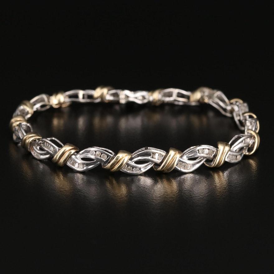 10K Two-Tone Diamond Woven Bracelet