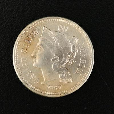 Uncirculated 1867 Liberty Head Three-Cent Nickel