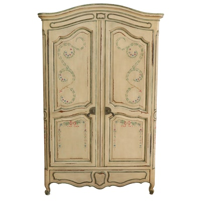 John Widdicomb French Provincial Style Paint-Decorated Wardrobe