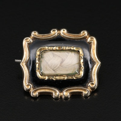 Early Victorian 10K Enamel Handkerchief Mourning Pin with Hair Chamber