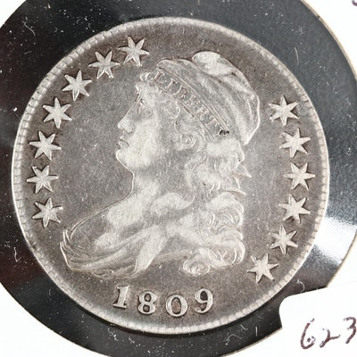 1809 Capped Bust Silver Half Dollar, Lettered Edge