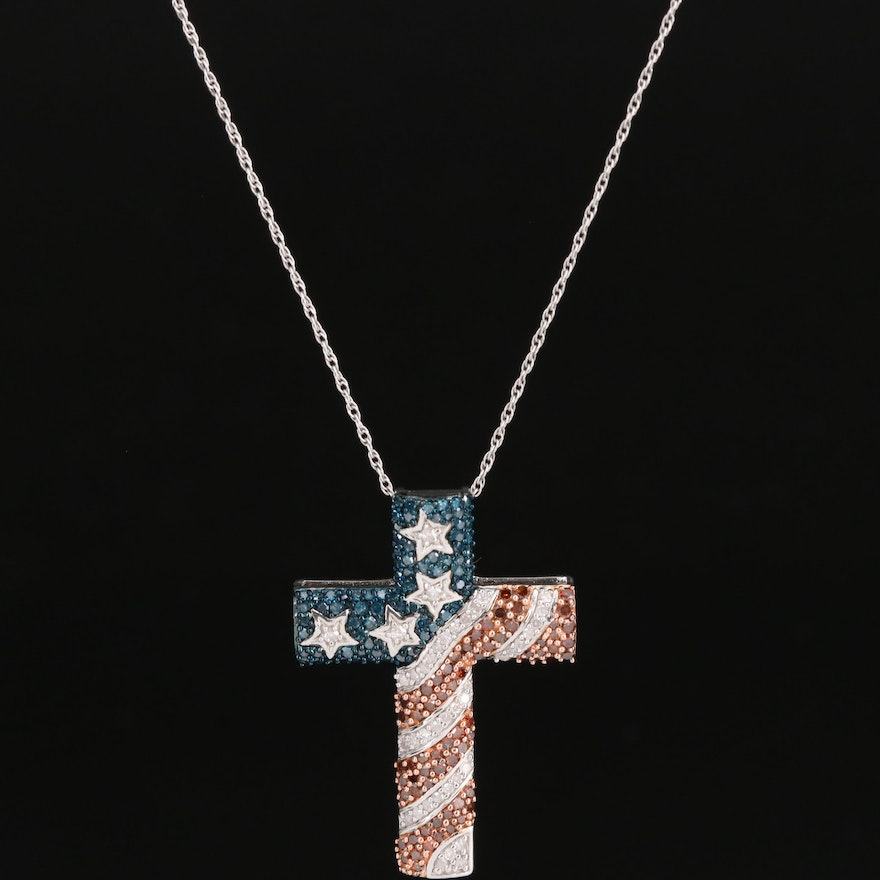Sterling Silver Diamond Patriotic Cross Pendant Necklace with Stars and Stripes