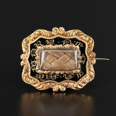 Late Georgian 14K Enamel Handkerchief Converter Brooch with Hair Chamber