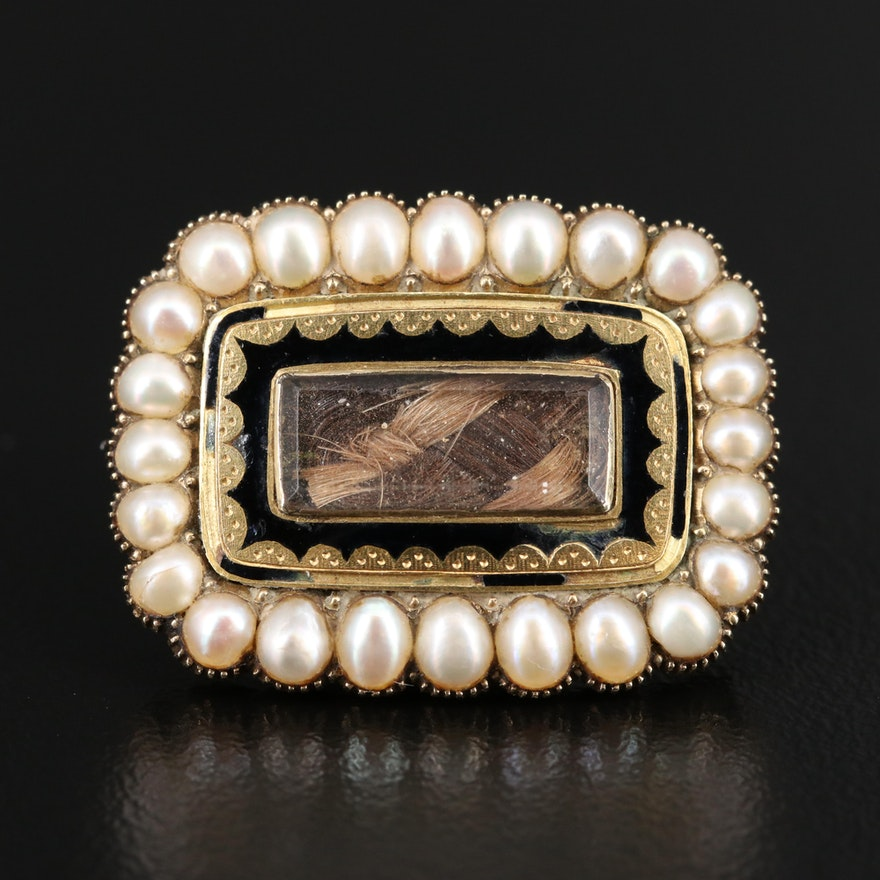 Late Georgian 14K Pearl and Glass Handkerchief Mourning Pin with Hair Chamber