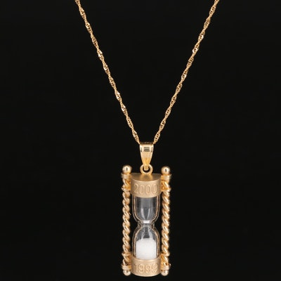 "14K ""1999 to 2000"" New Year's Eve Hour Glass Necklace"
