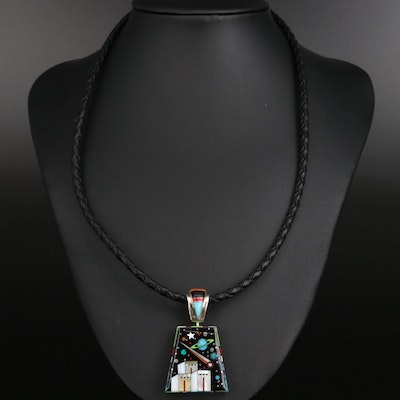 Stella Smiley Navajo Diné Sterling Gemstone Inlay Reversible Pendant Necklace