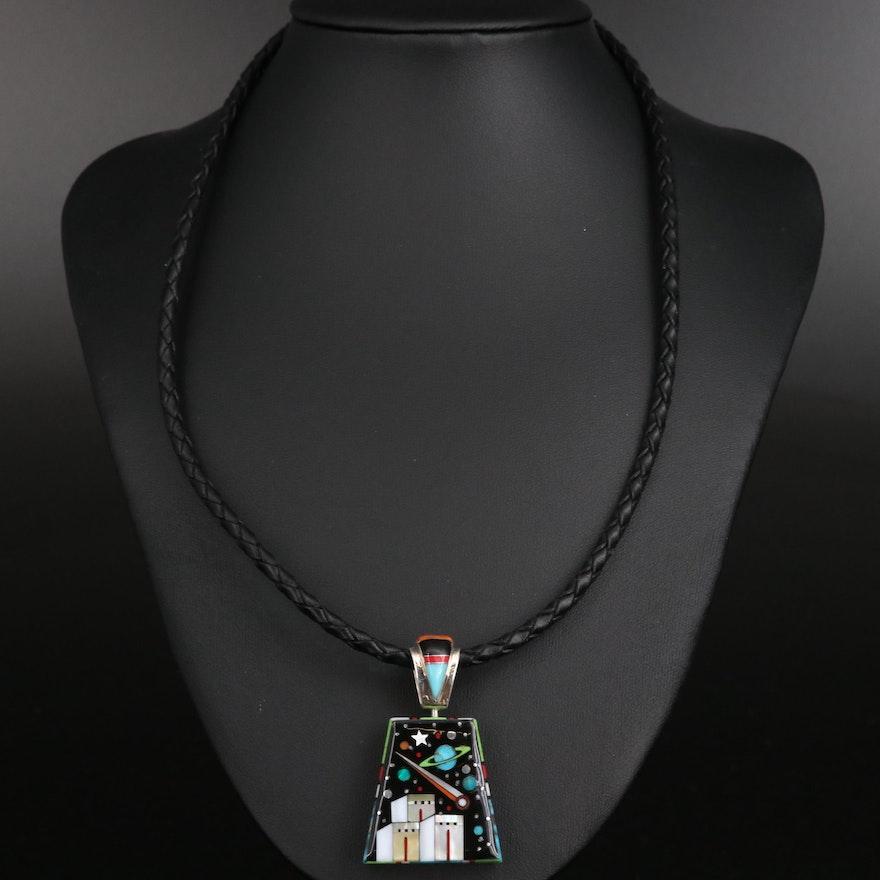 Stella Smiley Navajo Diné Sterling Gemstone Inlay Reversible Pendant Necklace