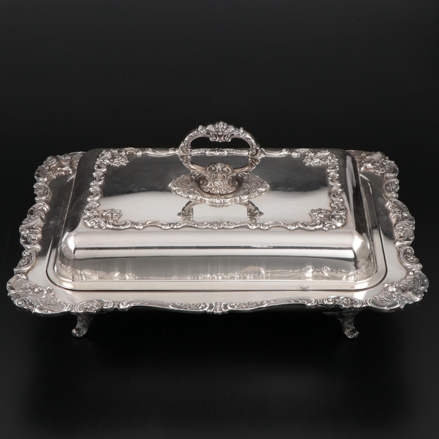 """Wallace """"Baroque"""" Silver Plate Two-Part Handled Covered Buffet Server"""