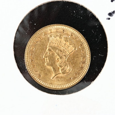 Low Mintage 1858 Type III Indian Princess Head $1 Gold Coin