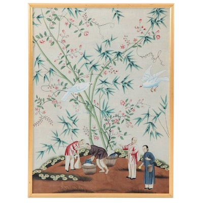 Chinese Style Gouache Painting of Birds, Figures, and Bamboo