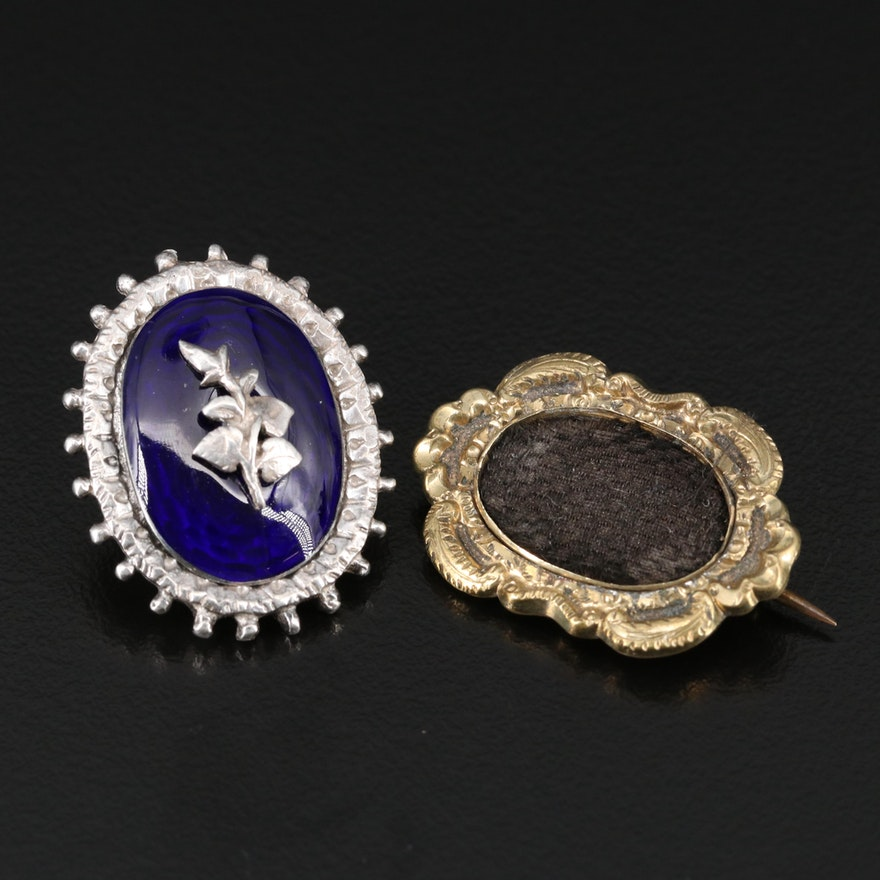 Victorian Sterling Silver Jewelry Component with Gold Tone Mourning Brooch
