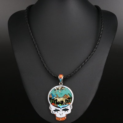 Stella Smiley Navajo Diné Lightning Skull Pendant Necklace with Gemstone Inlay