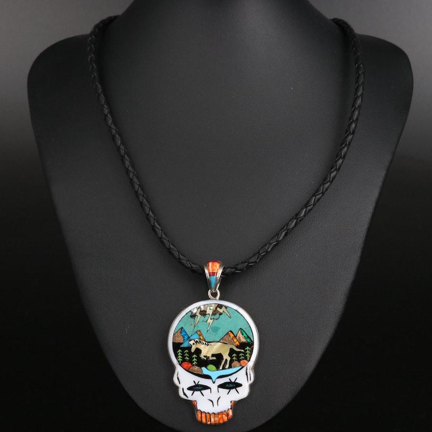 Stella Smiley Navajo Diné Lightning Skull Pendant Necklace with Gemstone Inlay