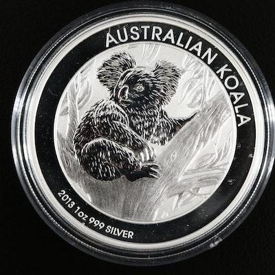 2013 Australian 1 Oz .999 Fine Silver Koala Dollar