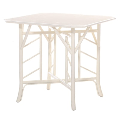 Theodore Alexander Chinese Style Painted Wood and Bamboo Table with Embossed Top