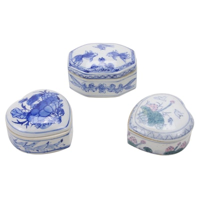 Chinese Hand-Painted Lidded Porcelain Trinket Boxes