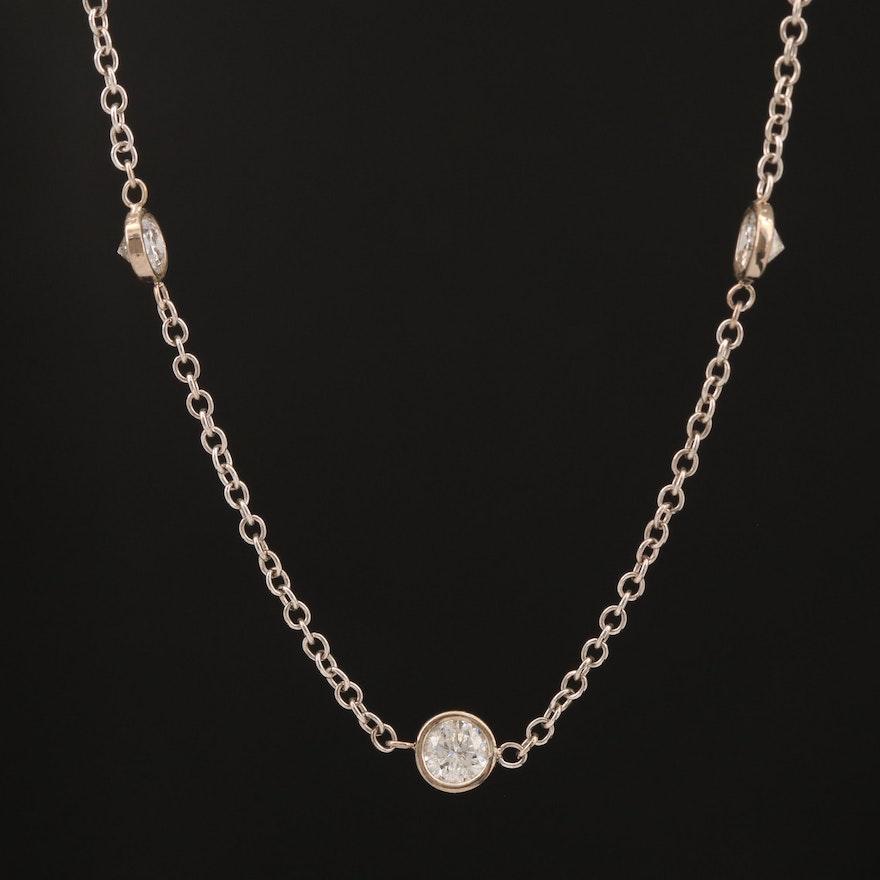 14K Diamond Station Necklace