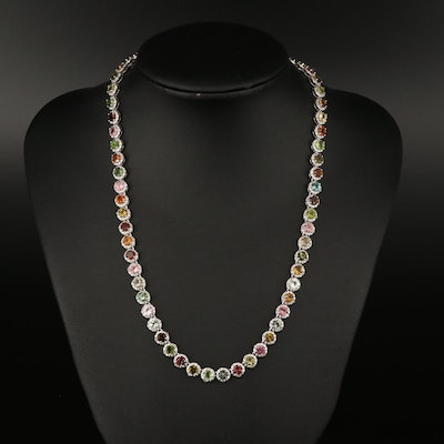 Sterling Tourmaline and Diamond Rivière Necklace