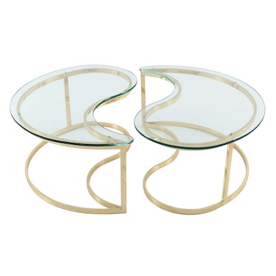 "Brass and Glass ""Yin Yang"" Nesting Coffee Tables, Late 20th Century"