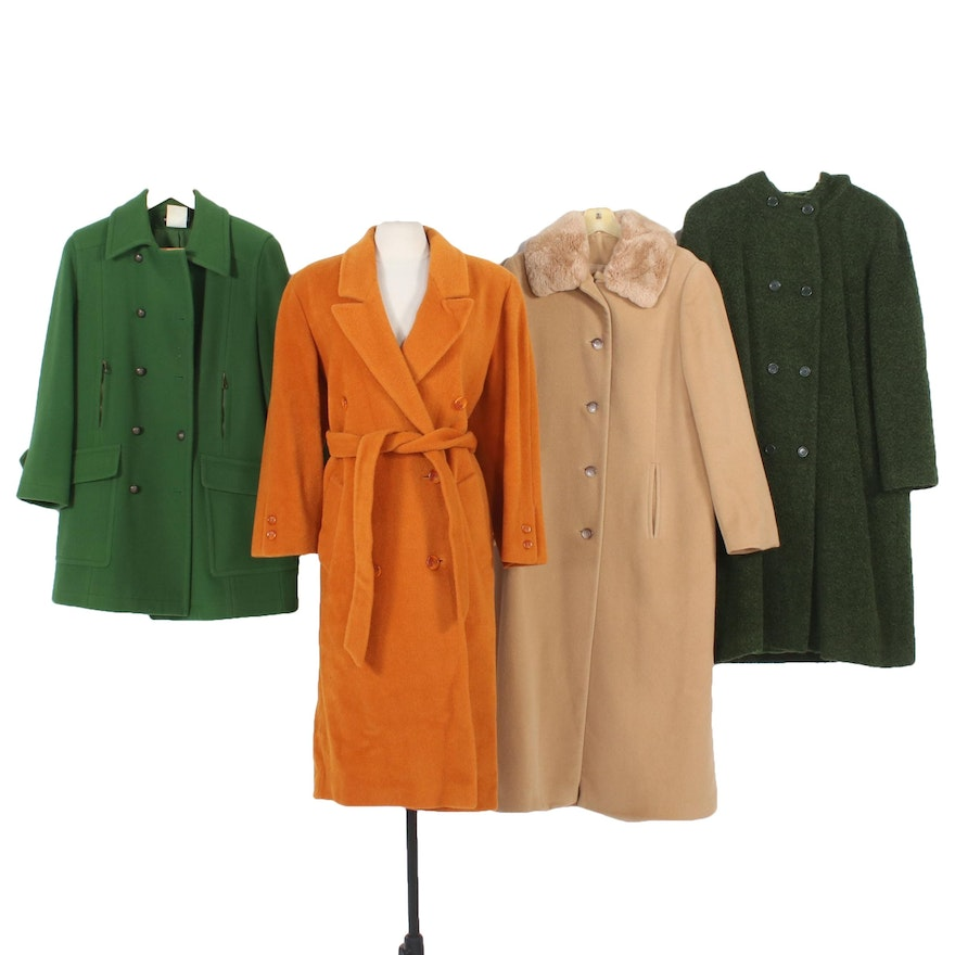 Bernard Holtzman and Other Wool Coats Including Sheared Rabbit Fur
