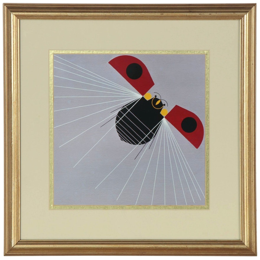 """Offset Lithograph after Charley Harper """"Ladybug, Fly Away Home!"""""""