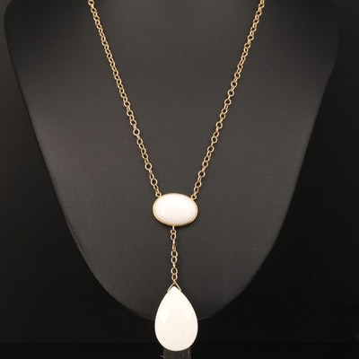 14K Chalcedony Drop Necklace