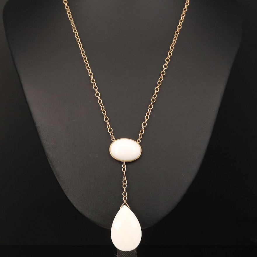 14K Chalcedony Drop Necklace