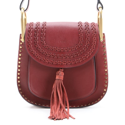 Chloé Hudson Leather Crossbody Bag with Whipstitch Details and Tassel