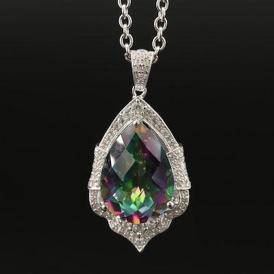 Sterling Silver Mystic Quartz and Topaz Pendant Necklace
