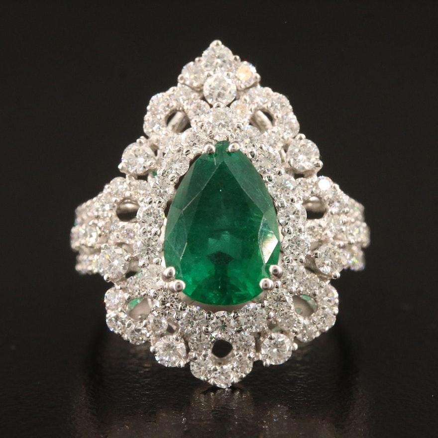 18K 2.95 CT Emerald and 2.07 CTW Diamond Ring