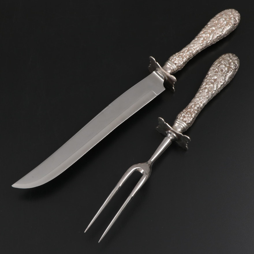 """Stieff """"Repoussé"""" Sterling-Handled Carving Set, Late 20th Century"""