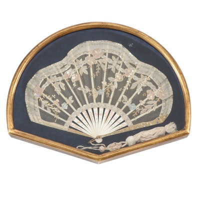Hand Beaded Hand Fan with Mini Sequins and Mesh Lace, Late 19th Century