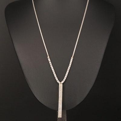 14K and Platinum 1.04 CTW Diamond Bar Necklace