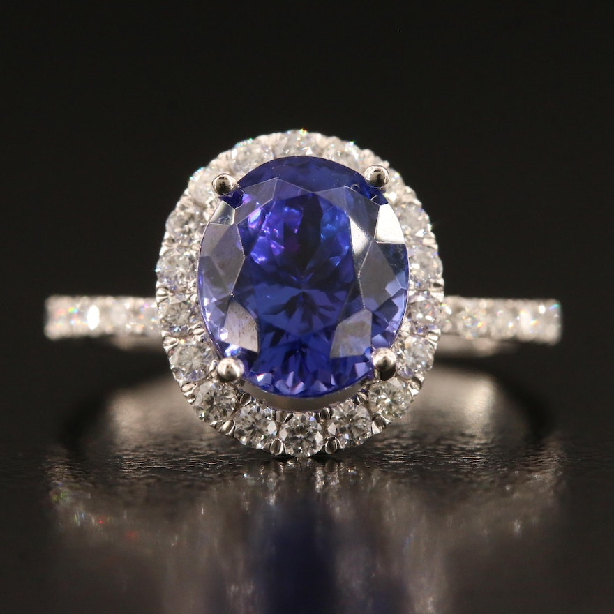 Platinum 3.24 CT Tanzanite and Diamond Ring