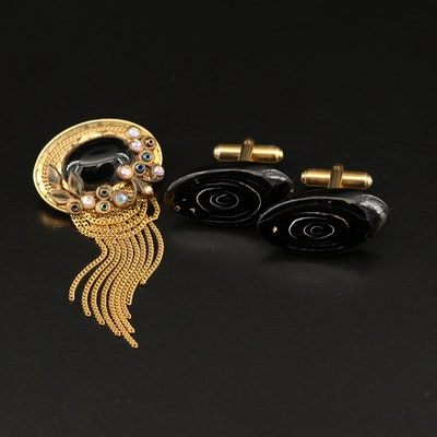 Vintage Marena Handarbeit Black Onyx Brooch with Black Coral Cufflinks