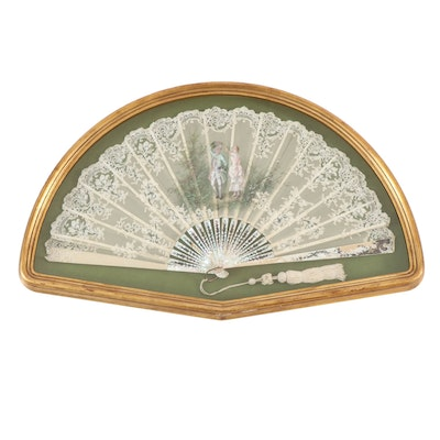 Hand-Painted Lace Hand Fan with Mother-of-Pearl Spines, Late 19th Century