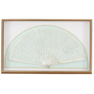 Mother-of-Pearl and Lace Hand Fan, Early 20th Century