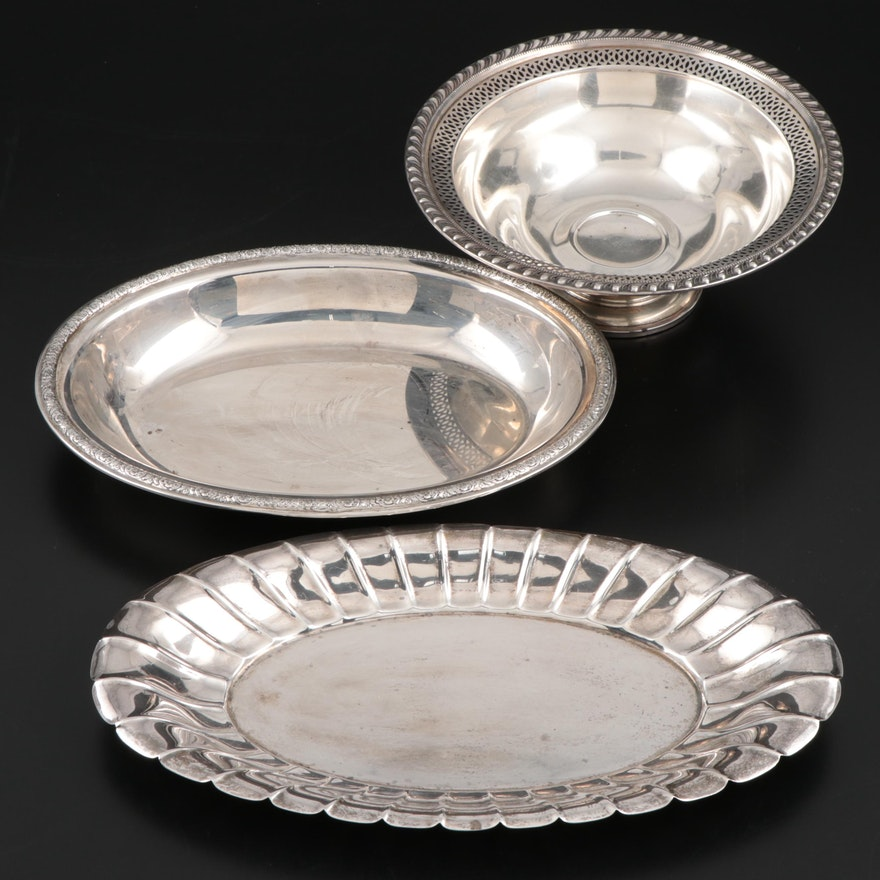 Gorham and Preisner Sterling Silver Dishes with Weighted Sterling Footed Bowl