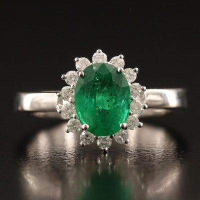 18K 1.29 CT Emerald and Diamond Ring