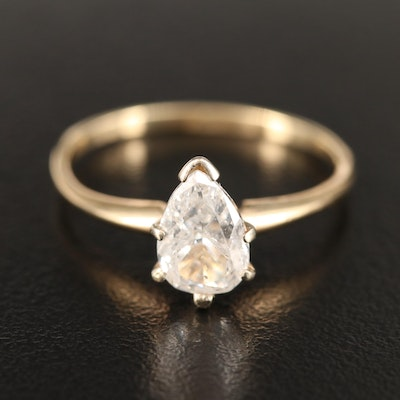 14K 0.91 CT Pear Cut Diamond Solitaire Ring